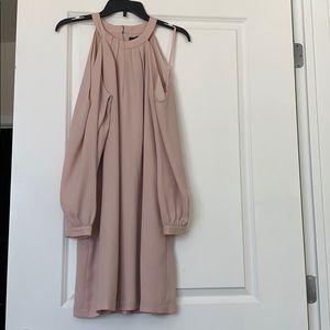 BCBG blush L/s cold shoulder trapeze dress szS NWT